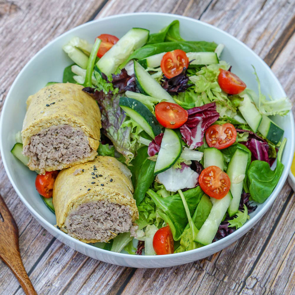 Body by Pauline Meal Diet Plan Salad and Meat Roll